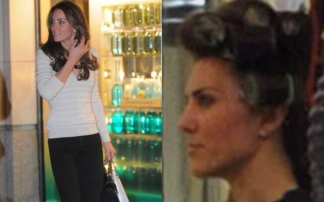 Kate Middleton foi clicada com bobes nos cabelos