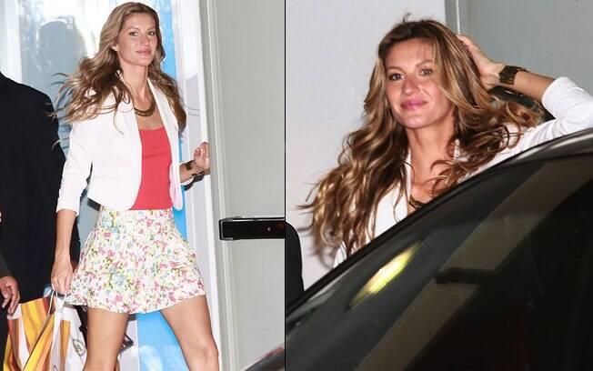 Gisele Bündchen deixa o shopping Iguatemi com look que particpou do evento