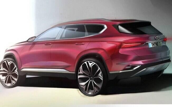 Sketch do Hyundai Santa Fe. O único registro que temos da traseira até o momento
