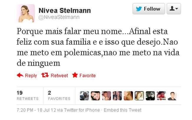Twitter da atriz Nívea Stelmann: se defendendo?