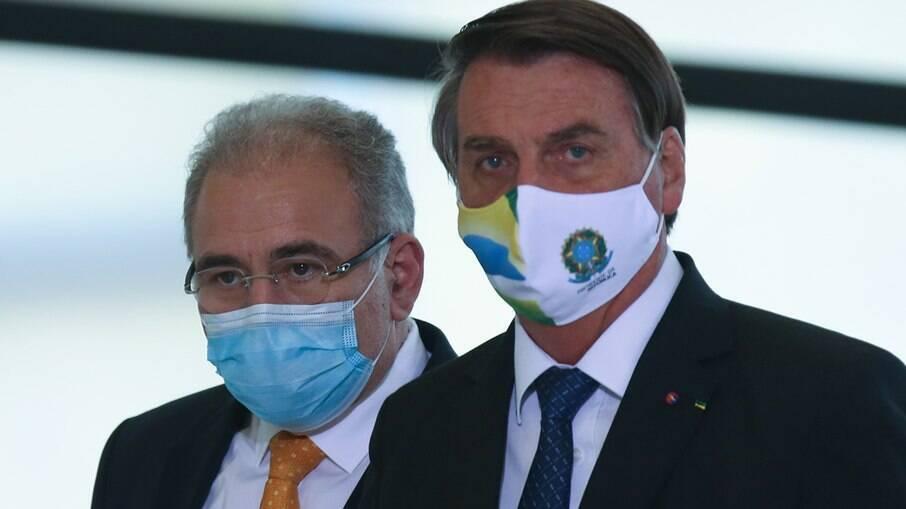Ministro da Saúde, Marcelo Queiroga, e presidente da República, Jair Bolsonaro