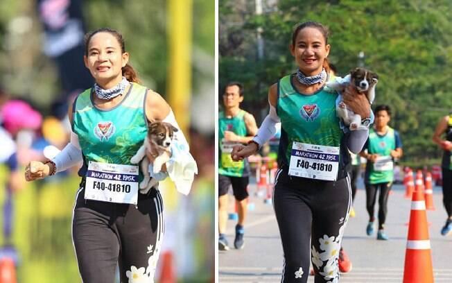 Khemjira resgatou com cachorro durante uma maratona na Tailândia