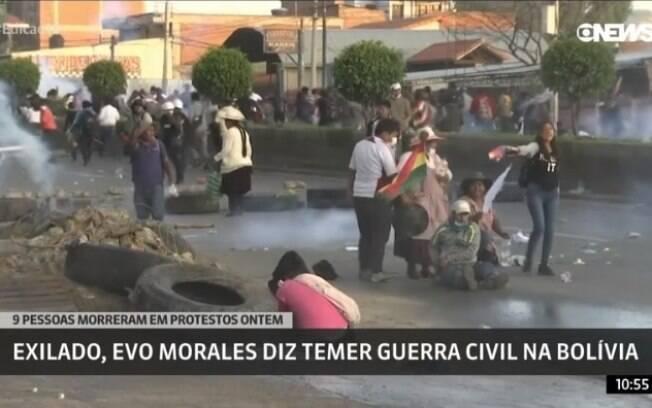 cena dos confrontos na Bolívia