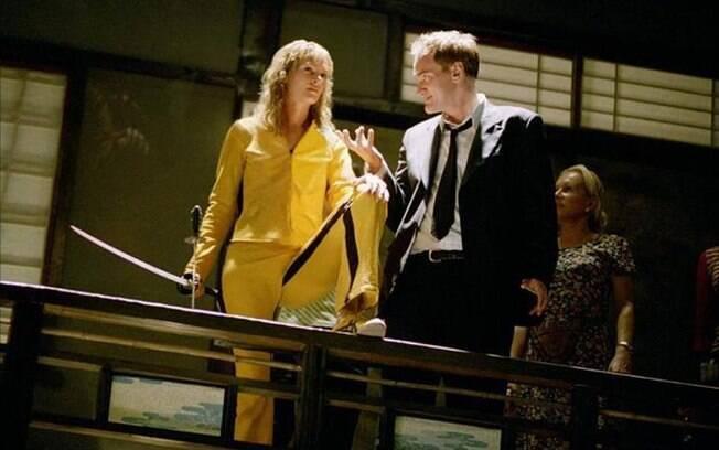 Quentin Tarantino e Uma Thurman no set de
