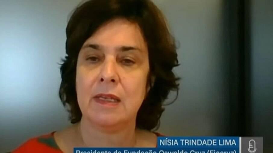 Presidente da Fiocruz, Nísia Trindade Lima, durante audiência pública promovida pela Comissão temporária da Covid-19 do Senado