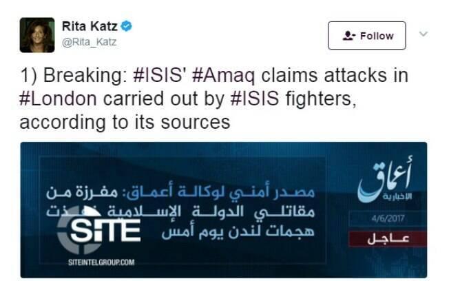 Pelo Twitter, grupo que monitora ação de grupos jihadistas anunciou que o Estado Islâmico é autor do ataque em Londres