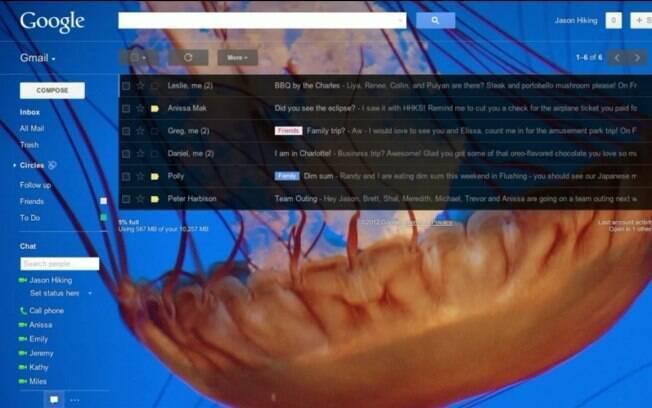 Gmail ganhará fundo de tela personalizado em breve