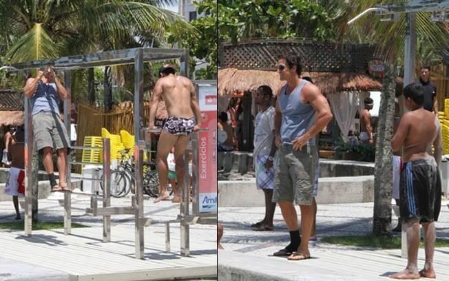 Na esquerda, Carlos Machado se exercita durante as gravações. Na direita, posa para fotos