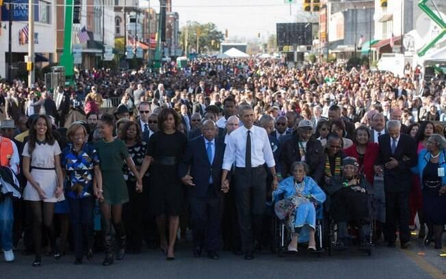 Obama, no sábado (8), em Selma: celebração do dia que se tornou um marco aos direitos civis
