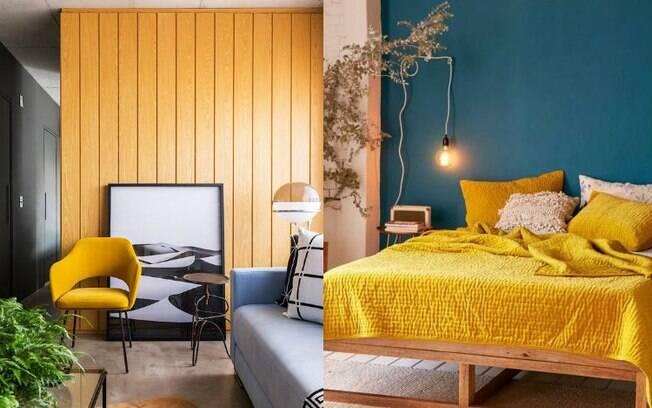 A cor viva e vibrante do amarelo-mostarda pode ser usada em diversos ambientes e é uma das tendências de decoração