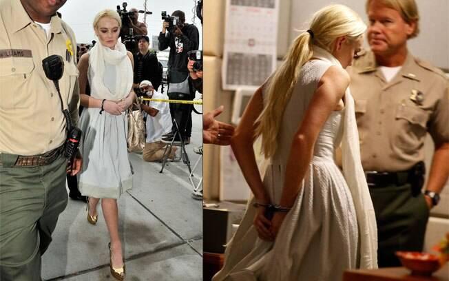 Lindsay Lohan cehga de salto alto e deixa local algemada