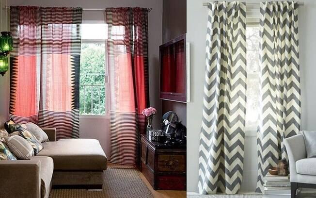 Cortinas em tecido natural com estampas étnicas e geométricas colorem o ambiente com leveza