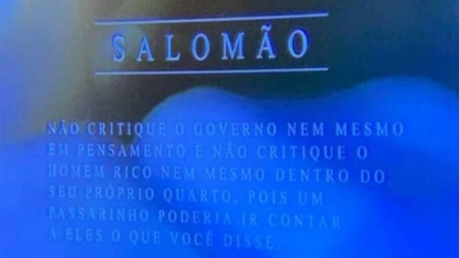 SBT exibe salmo que aconselha a não criticar o governo