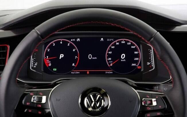 VW Virtus GTS vem com volante revestido de couro com costuras vermelhas e cluster digital e configurável, entre os equipamentos