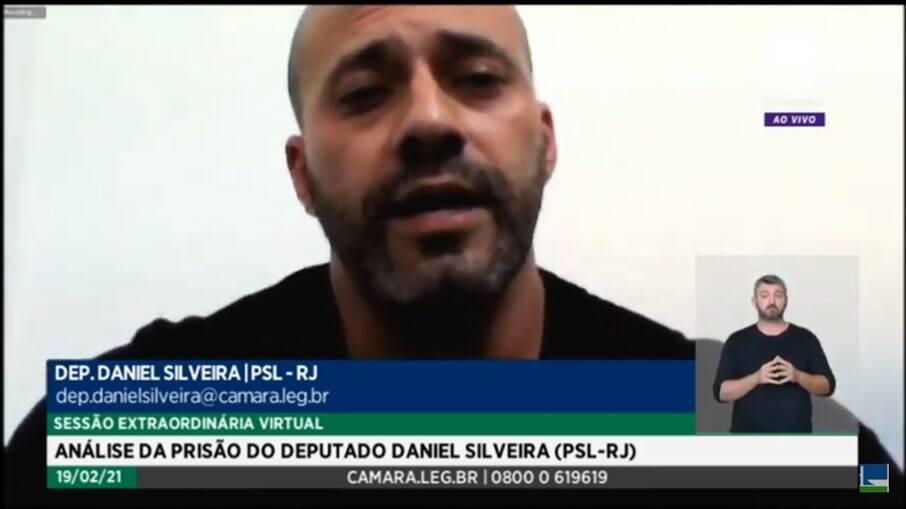 Daniel Silveira, em defesa na Câmara dos Deputados