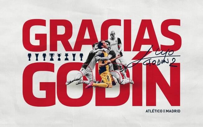 Atlético de Madrid posta agradecimento a Godín pelos nove anos defendendo o clube.