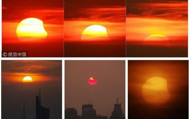 Eclipse solar parcial foi mega rápido na China, pois ocorreu pouco antes do sol se pôr, dando quatro minutos e fenômeno
