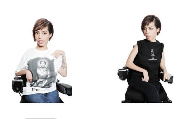 Modelo Jillian Mercado no site de roupas e acessório da marca da cantora Beyoncé