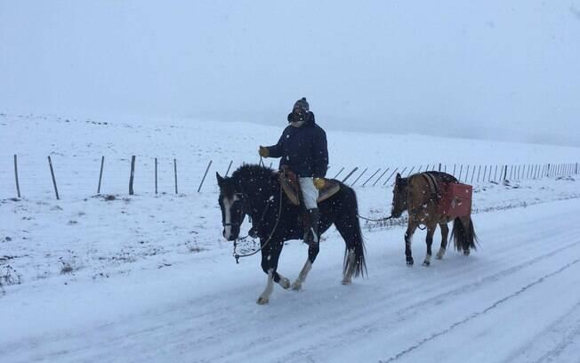 Entre as dificuldades enfrentadas na viagem, Masetti e os cavalos passaram por lugares frios abaixo de 15 graus negativos.