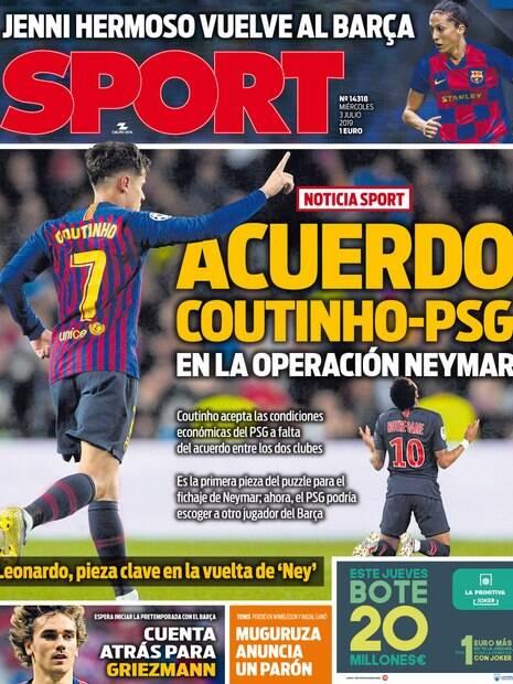 Capa do Sport com Philippe Coutinho