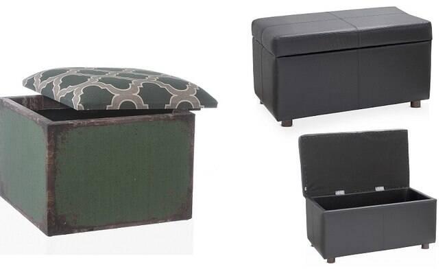 Pufes que se transformam em baús são uma ótima opção para esconder a bagunça e ainda criar um assento
