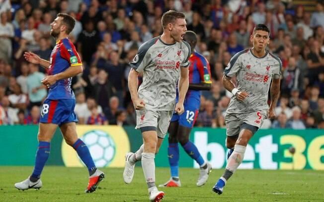 Milner marcou de pênalti o primeiro gol da vitória do Liverpool sobre o Crystal Palace