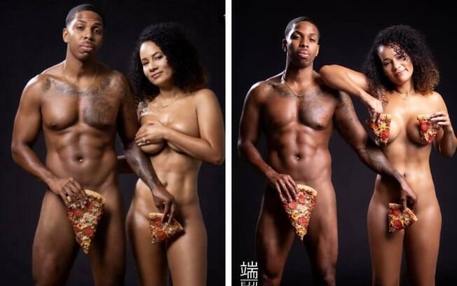 ensaio com pizza