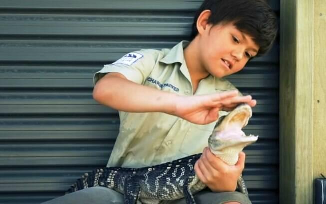 Charlie coleciona cicatrizes de mordidas que levou de cobras, jarés e crocodilos, mas continua sem medo dos animais