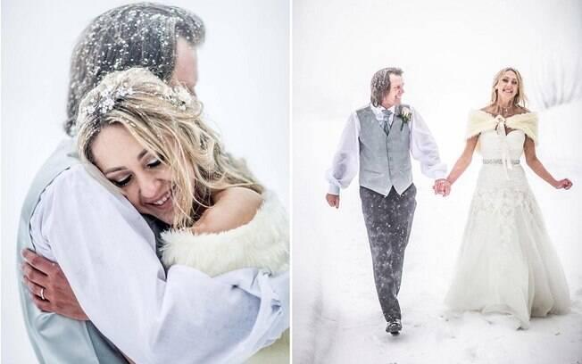 A neve deu o toque final na celebração e tanto Jemma quanto Steven afirmam que não mudariam nada