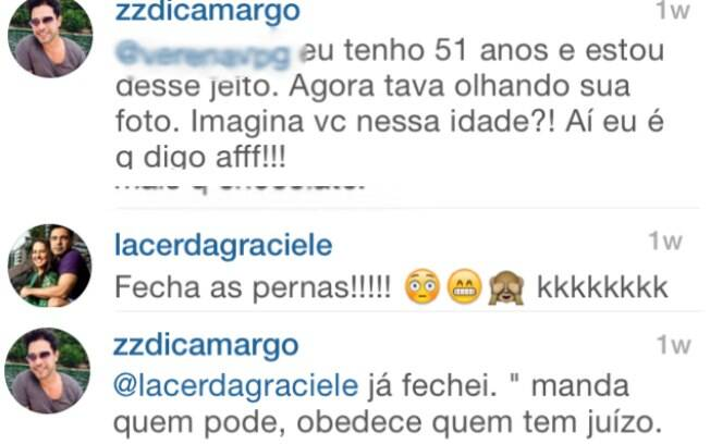 Zezé Di Camargo em dois momentos de seus comentários: respondendo para seguidora e para a namorada