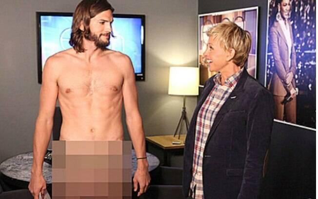 O ator Ashton Kutcher ficou nu para divulgar o Ellen DeGeneres Show