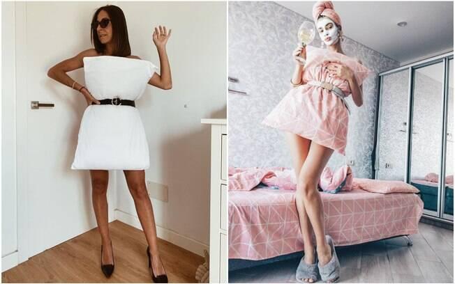 mulheres usando fronha como vestido