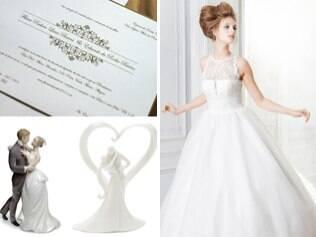 Vestido longo, convite clássico e noivinhos de porcelana: casamento tradicional