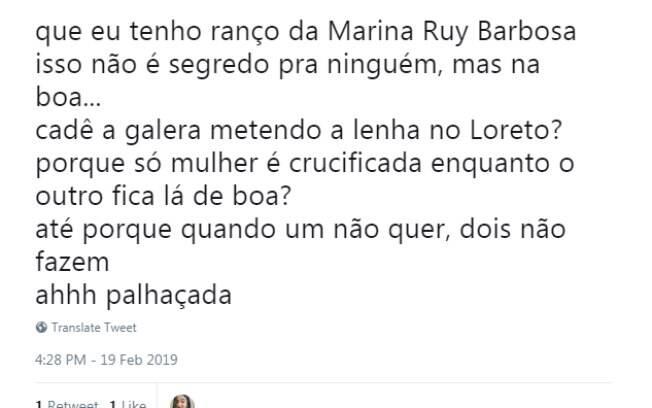 Fãs ficam indignados com repercussão do caso Loreto e Marina Ruy Barbosa