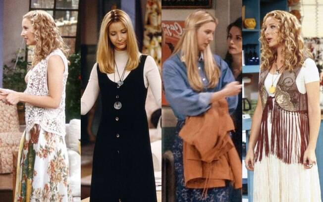 Phoebe Buffay mescla entre os estilos hippie e boho, combinando saias longas e coletes para montar um visual descolado