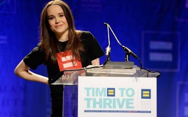 'Estou cansada de esconder e estou cansada de mentir por omissão. Eu sofri por anos porque tinha medo de sair do armário', disse a atriz Ellen Page. Foto: Reprodução/Guff.com
