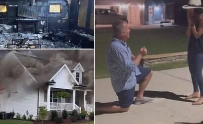 Homem enfrenta incêndio para pedir namorada em casamento