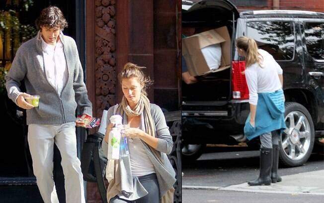 Gisele Bündchen na porta da nova residência: ocupada com a mudança de casa em Boston