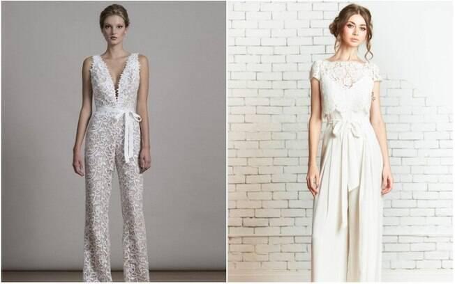 Segundo a personal stylist, renda e tecidos delicados são a chave para quem quer um macacão de noiva romãntico