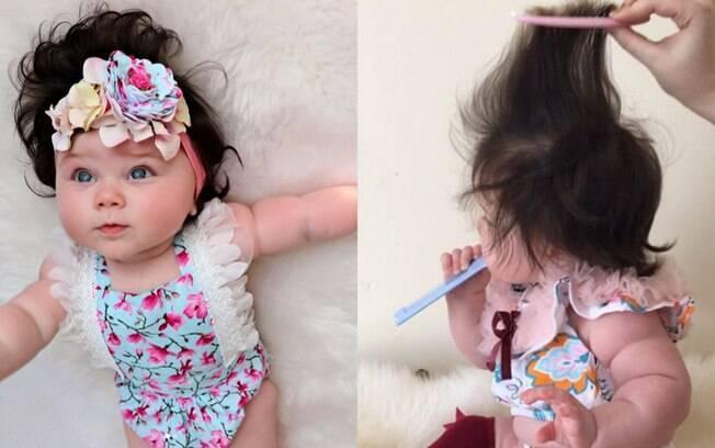 Os fios do bebê cabeludo crescem cada dia mais, e ela já foi chamada por 20 marcas para aparecer em campanhas