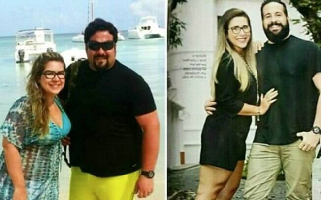 Analu e Walter mostram foto de antes e depois da dieta e da mudança de hábitos que resultaram em 80 kg a menos