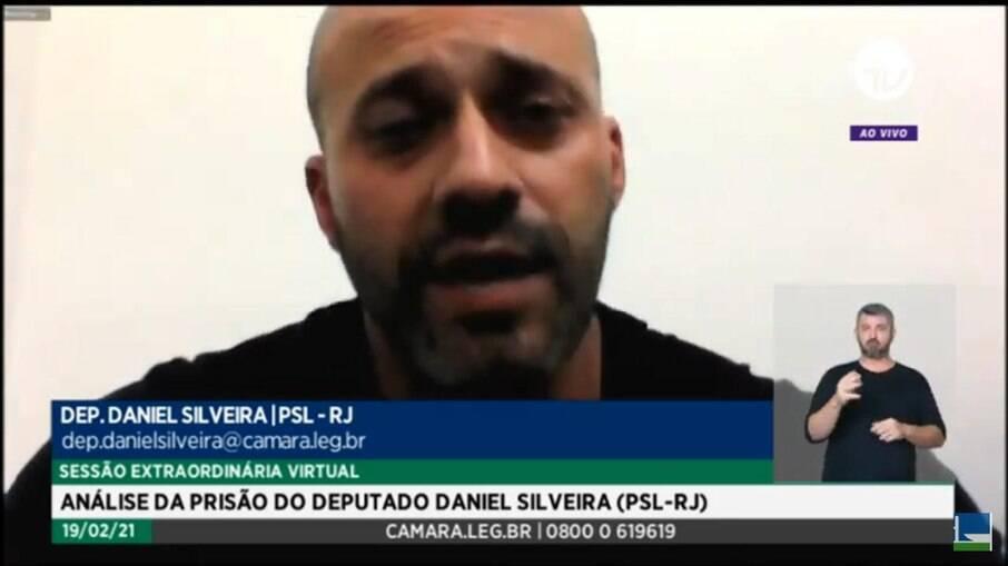 Deputado Daniel Silveira (PSL-RJ) faz sua defesa no julgamento que decidiu pela manutenção da sua prisão