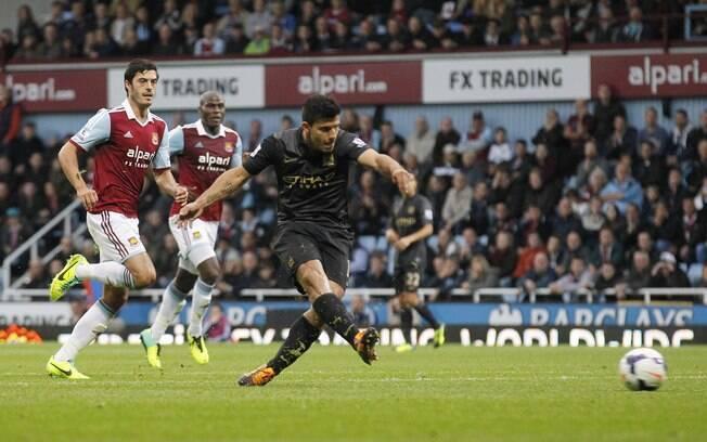 Aguero abre o placar para o Manchester City diante do West Ham