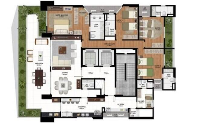 Cada apartamento possui quatro suítes, quatro vagas de garagem e área de 259 m²