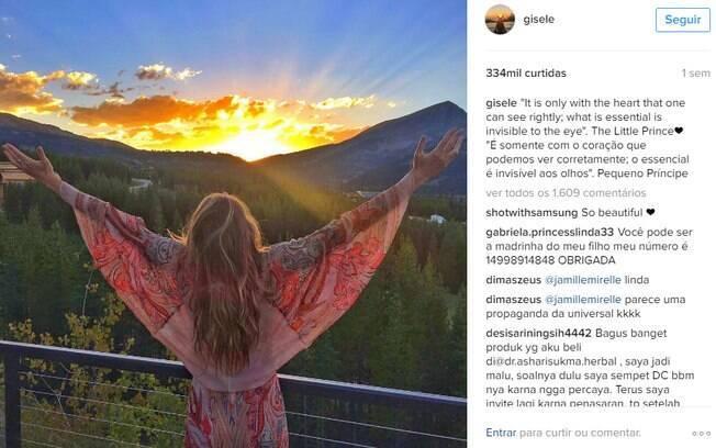 Além de arrasar com fotos suas, Gisele compartilha imagens de paisagens inspiradoras