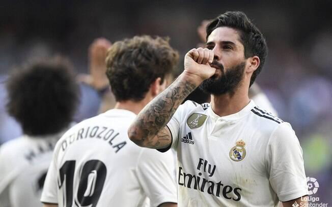 Isco, bancado por Zidane no time titular do Real Madrid, fez um dos gols da vitória sobre o Celta de Vigo