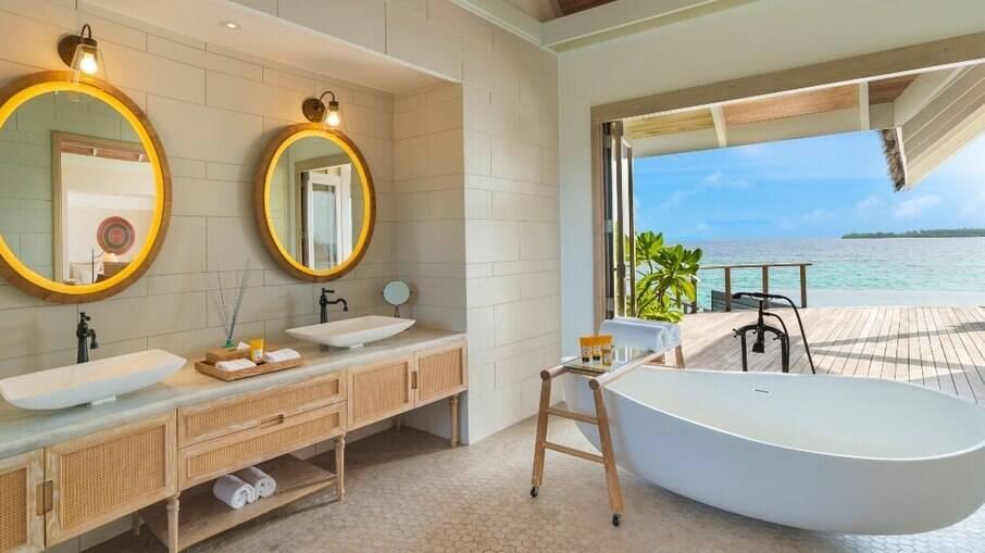 Banheiro do quarto de Marcela e Luiza nas Maldivas