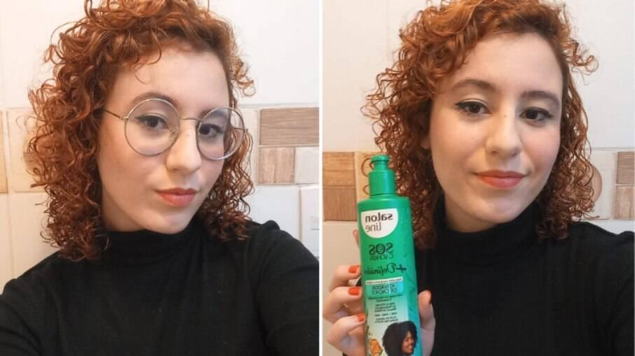 A repórter Camila Cetrone depois do uso da linha S.O.S Cachos + Definidos, da Salon Line