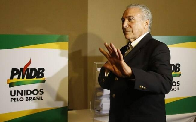 Presidente Michel Temer durante convenção nacional do PMDB em março do ano passado