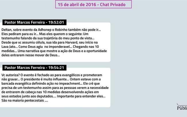 Chat privado entre Dallagnol e o pastor Marcos Ferreira